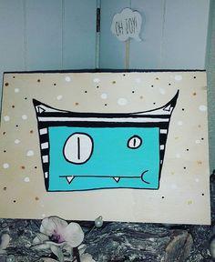 Monster on wood ♡ Oh joy !! ☆ Craft&design by ateliernosissy ♡ ♡ ☆  #kinderkamerkunst #kinderkamer #schilderij #barnkammare #barnrummet #chambredenfant #børneværelse #kinderzimmer #børneværelse #børneværelset #illustration #illustraties #illustratie #ontwerp #nurseryroom #painting #nurseryart #woodpainting #monsters #kinderzimmerdeko