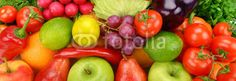 background of ripe fruit and vegetables