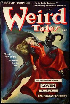 atomic-flash:  Is The Devil A Gentleman? - Weird Tales Vol. 36, No. 6 (July, 1942). Cover Art by pioneer female pulp artist Margaret Brundage. (via Leo Boudreau)