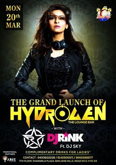 Get set ready to witness the launch of Club Hydrogen Hyderabad Hydrogen - The Lounge Bar with India's No1 Female Dj Desi Diva DJ RINK on 20th March 2017. So Make your schedule to be there !!   #DJRINK #RINK #BOLLYWOOD #MUSIC #FUN #HYDERABAD