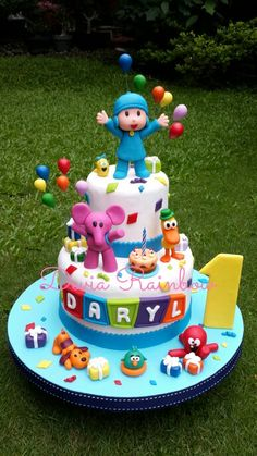 1st Boy Birthday, Birthday Parties, Birthday Cake, Cake Pocoyo, Bolo Laura, Novelty Cakes, Cakes For Boys, Cute Cakes, Baby Shower Cakes