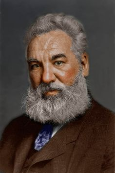 Alexander Graham Bell, colorized. Original black and white photograph 1904. Photographer: Unknown – Print from Library of Congress.