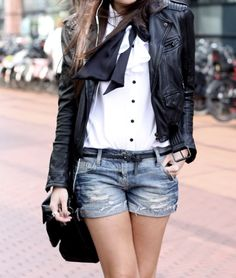 Leather jacket x tie x button-down x denim shorts.