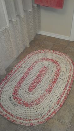 """I single-crocheted this one with a size Q hook.  Used 4 sheets torn in 1.5"""" strips."""