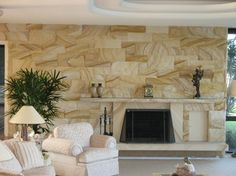 International Sandstone & Granite - AUSTRALIAN SANDSTONE FIREPLACE & WALL CLADDING Sandstone Fireplace, Sandstone Wall, Fireplace Wall, Fireplace Surrounds, Fireplace Ideas, House In The Woods, My House, Farm House, Sandstone Cladding