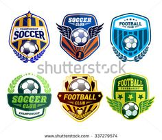 Set Of Soccer Football Crests And Logo Emblem Designs. Football  Championship Emblem Design Elements   Buy This Stock Vector On Shutterstock  U0026 Find Other ...