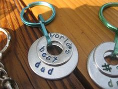 Girl in Air: A Father's Day Keychain Kid's Project - using metal washers and stamps or a sharpie