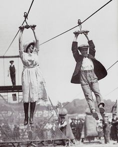 Ziplining in the 1920s.