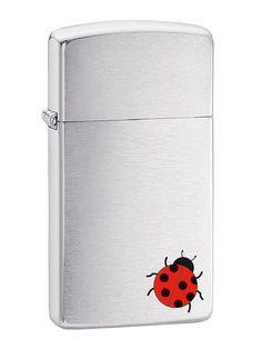 Ladybug on Brushed Chrome Slim Zippo lighter from Zippo Italy!