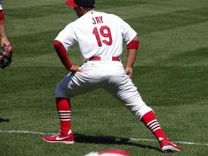 Jon Jay stretching in his high socks 4/14