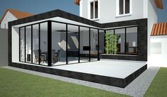 It is a small extension in glass and metal. The Customer did not wish