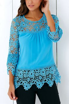 $12.66 Stylish 3/4 Sleeve Lace Spliced Hollow Out Crochet Blouse