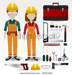 Field Engineering or technician uniform clothing, stationary and accessories tool box icon collection set with layout design isolated background for both male and female profession (vector)