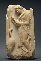 Greek stele depicting a girl holding a doll and a goose. Late Classical, about 360 BC.