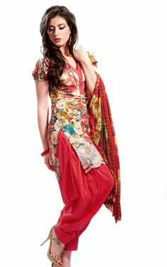 OFF WHITE, RED & YELLOW COTTON SALWAR SUIT