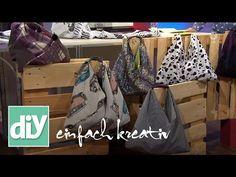 Einkaufsbeutel in Origami-Falttechnik Origami Bag, Origami Folding, Linen Bag, Clay Figures, Fabric Bags, Vintage Bags, Felt Crafts, Diy Art, Home Crafts
