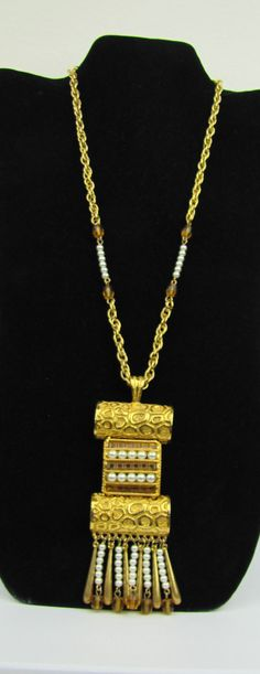 Amazing Mayan influenced 1970s designer necklace by Lucien Piccard. This is a statement necklace runway worthy, it is huge. Features bright 24K gold
