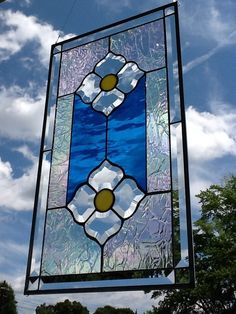 Stained Glass Transom Window Panel 2 Flower Bevels