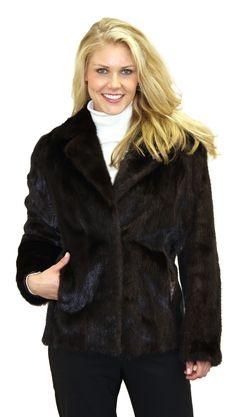 Female Mink Fur Jacket with Shawl Notch Collar
