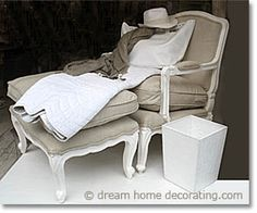 A treasure trove of French country decorating ideas, information and inspiration, with original photos of real French homes. French Country Chairs, Modern French Country, French Country Furniture, French Country Cottage, French Decor, French Country Decorating, Bergere Chair, Upholstered Chairs, House Styles
