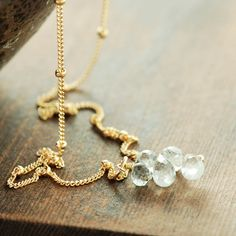 Aquamarine Birthstone Cluster Necklace in 14k Gold Fill, Delicate March Birthday Jewelry by aubepine on Etsy https://www.etsy.com/listing/190814999/aquamarine-birthstone-cluster-necklace