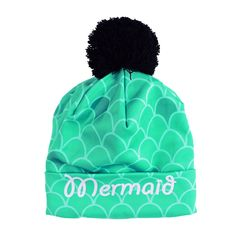 Unisex 3D Digital Printed Polyester Beanie Pompon Skull Cap W/ Fluff Ball Top (Mermaid Blue Green)