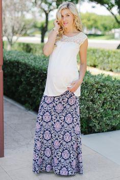 Navy Beige Pink Damask Printed Maternity Maxi Skirt from PinkBlush Maternity www.pinkblushmaternity.com #maternity #fashion