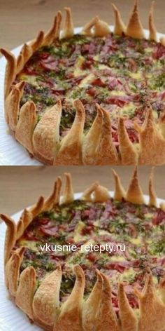 """From puff pie """"Flower"""" with potatoes and … – Chicken Recipes Wine Recipes, Gourmet Recipes, Cooking Recipes, Puff And Pie, Tasty, Yummy Food, Baked Chicken Recipes, Quiches, Creative Food"""