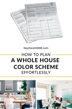 How to create a color palette for your home to get a cohesive look. I'll walk you through the easy steps to create your color palette and you can print out your free cheat sheet to organize your ideas! #color #colorpalette #interiordesign #interiorcolor #choosecolor #neutrals #boldcolor #wallcolor #accentcolor #colorscheme #paintcolor #choosepaint #greige #blueandwhite #printable #decorate #decor #decorating #tutorial #homedecoratingideas #paintingtips #traditionaldecor #moderndecor… Interior Color Schemes, House Color Schemes, Interior Paint Colors, Paint Colors For Home, Colour Schemes, House Colors, Neutral Paint Colors, Accent Colors, Blogger Home