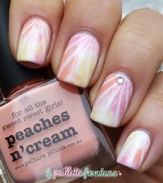 piCture pOlish Peaches n Cream & Mellow Yellow feature in this mani art creation by La Paoillette Frondeuse!  Buy on-line now:  www.picturepolish.com.au Elf Make Up, Picture Polish, Laura Geller, Spring Nails, Summer Nails, Nail Art Designs, Brown Hair Shades, Color For Nails, Eyebrows