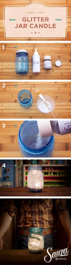 How To Make a Glitter Mason Jar Candle with a Cowboy. You will need: craft glue, glitter, mason jars tea lights, and a cowboy (that's me). Mix water with white glue and brush the inside of the mason jars. Add glitter to the inside of the jars, and spin the jar to coat the sides. Let dry, then add a tea light. Looky here. I nailed it. #MakeItWithACowboy