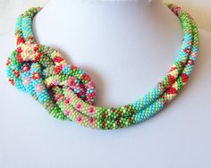 BeautifulCrochet Rope Necklace  Beadwork  Seed beads by lutita...