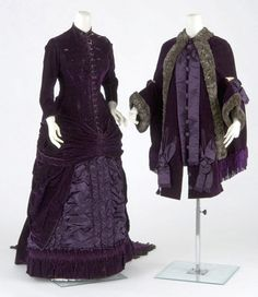Wedding dress and mantle, 1879.  Ensemble made by St. Paul dressmaker Mrs. A. Worley.  One-piece purple velvet & satin dress has long cuirass bodice, ruched satin center front panel and flounced & draped velvet overskirt with slight train. Matching velvet dolman (mantle) is of close-fitting cape construction with small sleeves attached through side front. Ornamented with satin bows and trimmed with fur & chenille fringe at hem. Sleeves ornamented with satin bows and hemmed with fur.