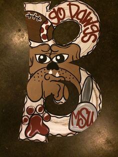 MSU Bulldogs door hanger initial