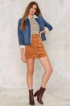 So Cord RN Tan Corduroy Skirt & Denim Jacket - Nasty Gal