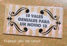 10 vales geniales para un novio 10 (DIY) | Manualidades