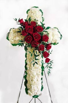 White carnations and red roses are designed into this religious floral display. Appropriate to send to the funeral home. Arrangement is delivered with an easel for display. Funeral Floral Arrangements, Flower Arrangements, Funeral Flowers, Wedding Flowers, Wreaths For Funerals, Funeral Caskets, Funeral Sprays, Corona Floral, Casket Sprays