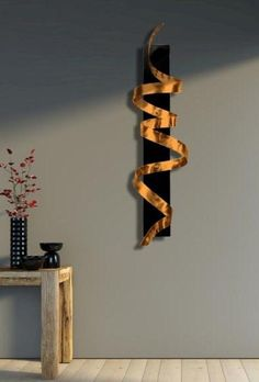 Copper Abstract Wall Twist 3D Modern Art by JonAllenMetalArt