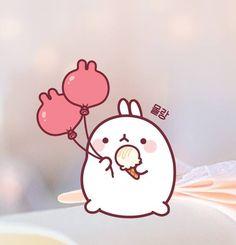 Molang bunny balloon and ice team