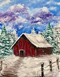 Find the perfect thing to do tonight by joining us for a Paint Nite in Arnold, MD, featuring fresh paintings to be enjoyed over even fresher cocktails! Easy Canvas Painting, Winter Painting, Winter Art, Canvas Art, Landscape Paintings, Watercolor Paintings, Barn Paintings, Barn Art, Wow Art