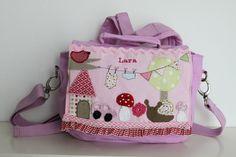 """Kindergartenrucksack+""""Kleine+Welt+mit+Schnecke""""+von+★Milla+Louise★+auf+DaWanda.com"""
