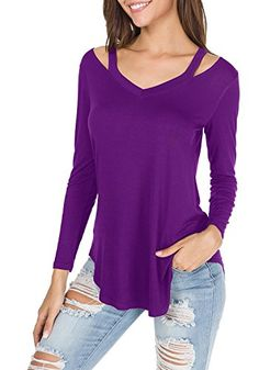 53fe0278084c8 Uniboutique Womens V Neck Hollow Out Sleeve Casual Slim Fit Blouse Tops