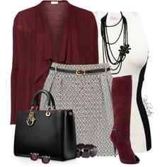Burgundy patent boots, grey pencil skirt, black tank, burgundy weaters