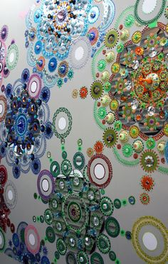 Suzan Drummen's 'floor paintings' are made from crystal, chrome-plated metal, precious stones, mirrors and optical glass.
