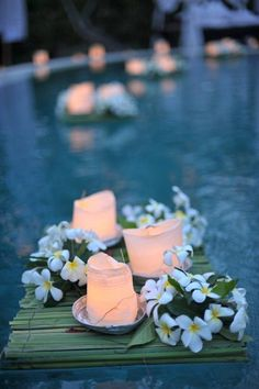 21 Wedding Pool Party Decoration Ideas For Your Backyard Wedding - pool decor Pool Candles, Floating Candles, Taper Candles, Bali Wedding, Wedding Ceremony, Wedding Ideas, Wedding Night, Backyard Wedding Pool, Backyard Weddings