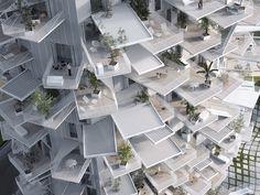 Immeuble de l'Arbre Blanc à Montpellier Ce dernier est le fruit du travail des architectes Sou Fujimoto Architects, Nicolas Laisné Associates, and Manal Rachdi OXO. Comme son nom l'indique cet immeuble ressemble à un arbre avec les terrasses qui sortent de la structure.