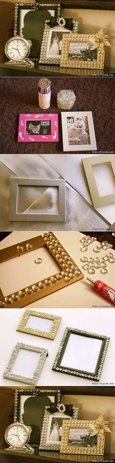 DIY Dollar Stores Glamorous Picture Frame DIY Projects on a budget. You need some DIY crafts for your daily life, it is not expensive, sit down and find some ideas for your life decoration. Frame Crafts, Diy Frame, Diy Projects To Try, Craft Projects, Craft Ideas, Decor Ideas, Photo Projects, Cadre Photo Diy, Diy Photo
