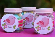 Upcycled baby food jars used as party favors birthday Baby Jars, Baby Food Jars, Lego Themed Party, Baby Food Jar Crafts, Baby Shower, 1st Birthday Parties, Baby Food Recipes, Pink And Green, Party Time