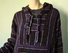 Purple & Black Baja Hoodie Top- Poncho Striped Grunge Pullover- 1990's- Men or Women. $34.00, via Etsy.