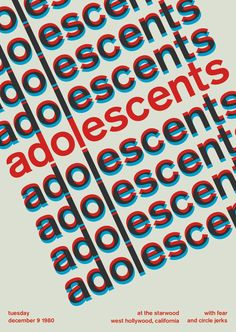 Punk Rock meets Swiss Modernism at Swissted.com. adolescents at the starwood / 1980 - swissted
